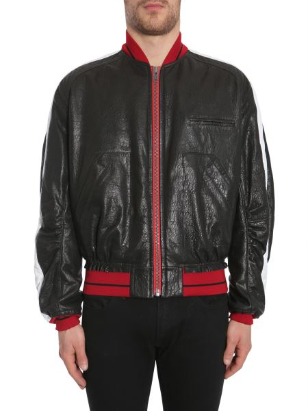 Haider Ackermann - Leather Bomber Jacket With Contrasting Colour Band