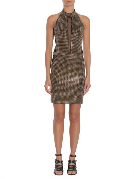 Balmain - Short Studded Dress With Tulle Insert