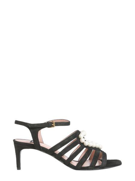 Boutique Moschino - Sandalo In Suede Con Cuore Di Perle