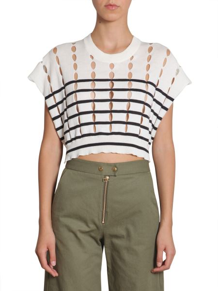 Alexanderwang.t - Striped Cotton Pullover With Slits