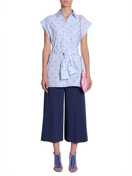 Boutique Moschino - Camicia In Popeline Di Cotone Jacquard A Righe E Conchiglie