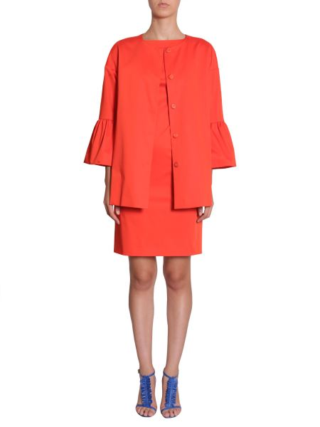 Boutique Moschino - Stretch Satin Coat With Flounced Sleeve