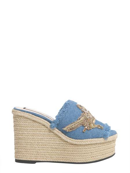 N°21 - Denim Mule Sandals With Rope Wedge