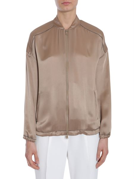 Brunello Cucinelli - Acetate Bomber Jacket With Monile Detail