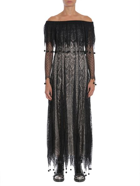 Alexander Mcqueen - Off The Shoulder Engineered Lace Dress With Pom Poms