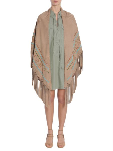 Simonetta Ravizza - Embroidered And Fringed Suede Shawl