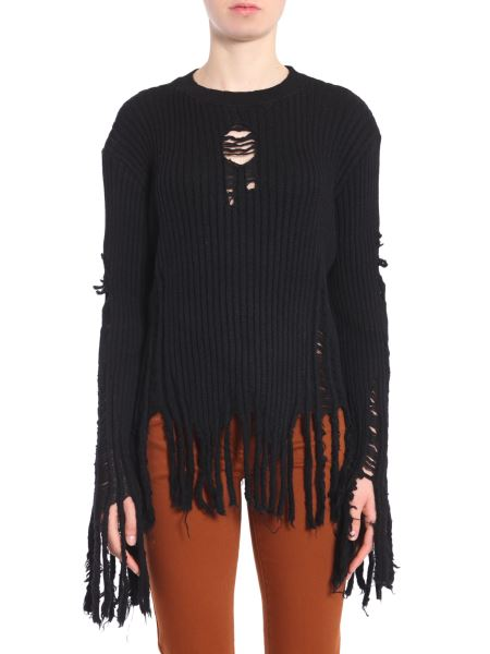 Balmain - Round Collar Sweater With Destroyed Details