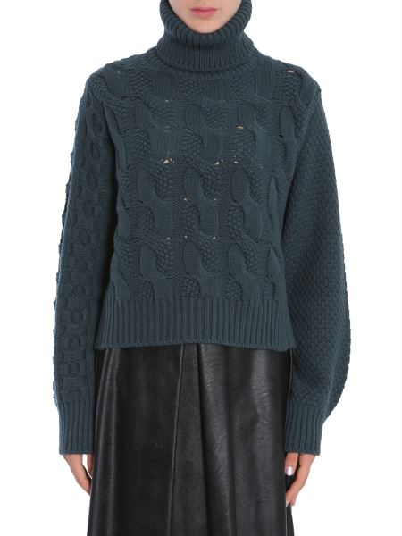 Mm6 Maison Margiela - Cable-knit Wool Blend Turtle Neck Sweater