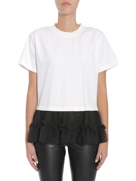 Mm6 Maison Margiela - T-shirt In Jersey Di Cotone Con Inserto In Chiffon Plumetis