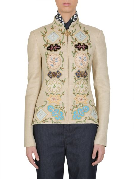 """Tory Burch - Embroidered """"damian"""" Tussah Silk Jacket"""