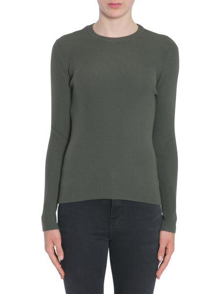 Moschino - Round Collar Virgin Wool Sweater With Tulle Insert