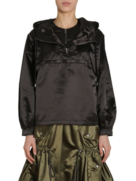 Moschino - Hooded Satin Anorak With Tulle Insert