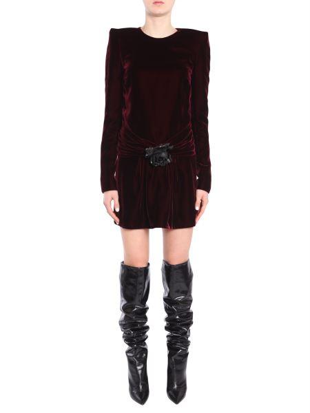 Saint Laurent - Long-sleeved Velvet Minidress With Pin