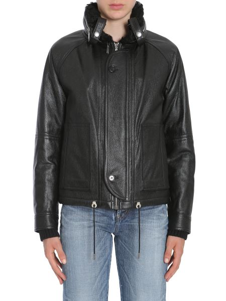 Saint Laurent - Bomber In Pelle Foderato In Shearling