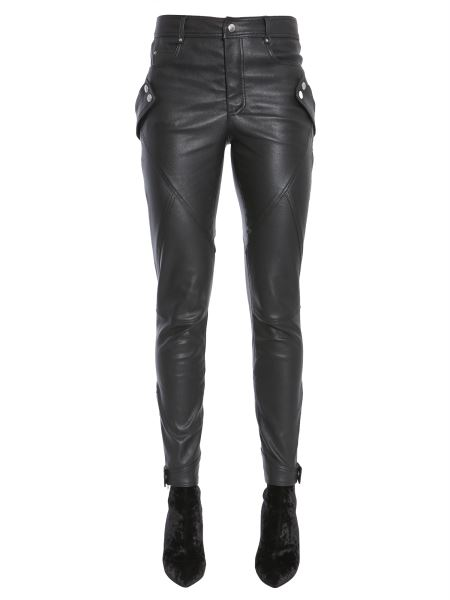 Alexander Mcqueen - Leather Stretch Biker Trousers