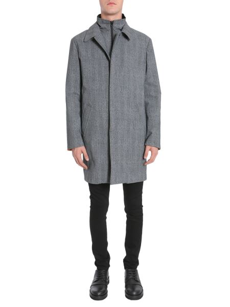 Traiano - Monforte Tweed Trench Coat With Internal Down Jacket