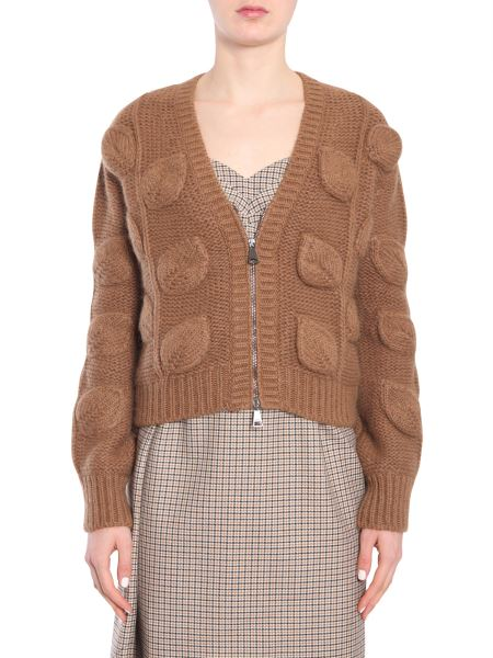 N°21 - V Collar Wool Cardigan With Intarsia