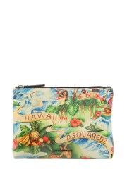 DSQUARED - POUCH IN CANVAS STAMPA HAWAII