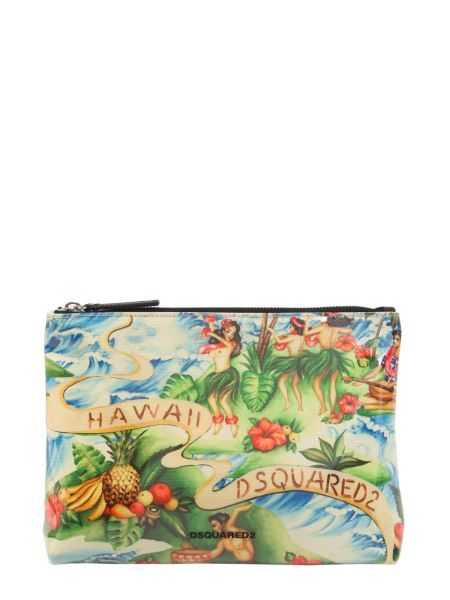 Dsquared - Pouch In Canvas E Pvc Stampa Hawaii