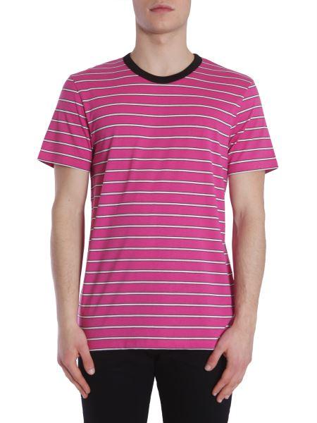 Ami - T-shirt In Jersey A Righe Con Collo A Contrasto