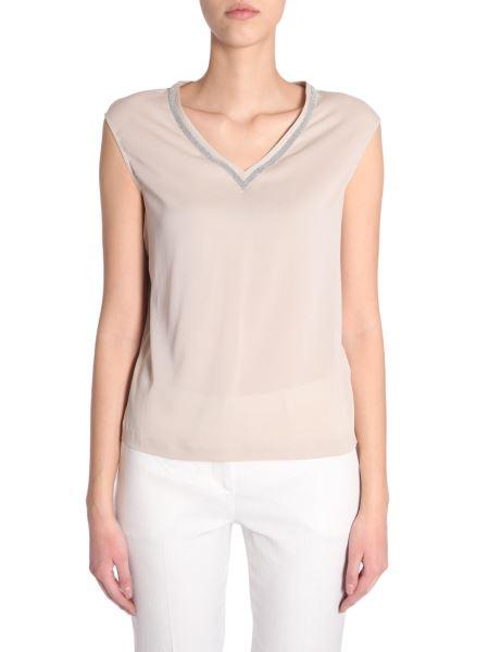 Fabiana Filippi - V Collar Cotton Top With A Sparkling Rhinestones Motif