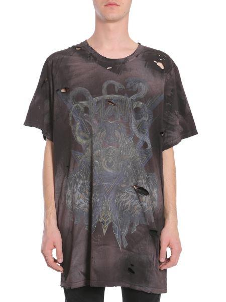 Balmain - T-shirt Oversize Fit Con Stampa E Dettagli Destroyed