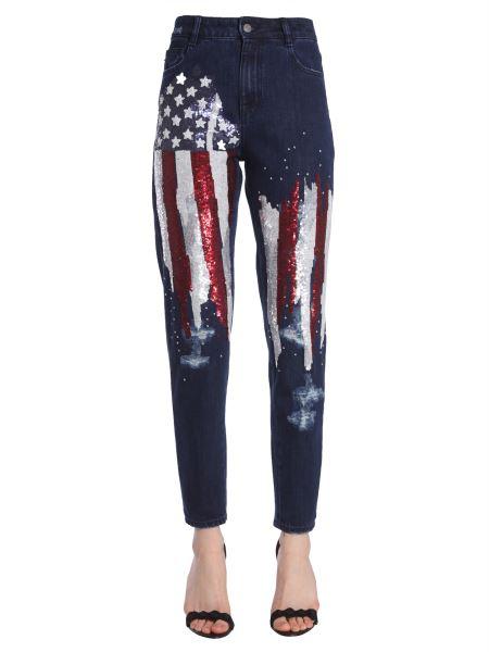 Amen - Jeans New Boyfriend Con Ricamo Bandiera Americana