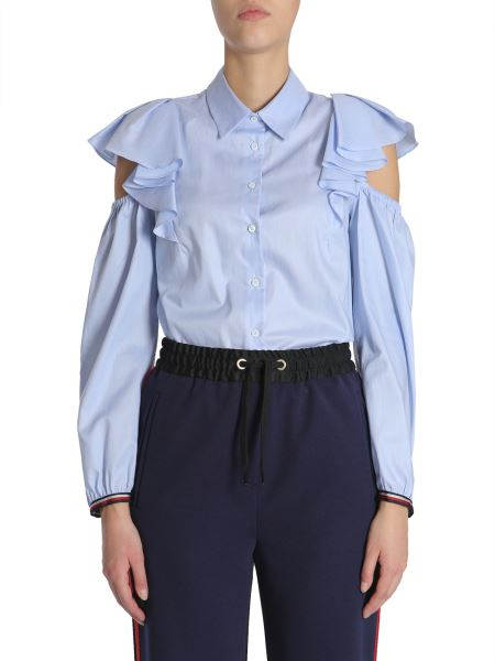 """Tommy Hilfiger - """"feminine"""" Striped Cotton Shirt With Cut Out Detail And Ruches"""