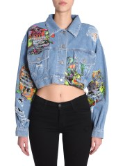 JEREMY SCOTT - GIACCA IN DENIM DESTROYED