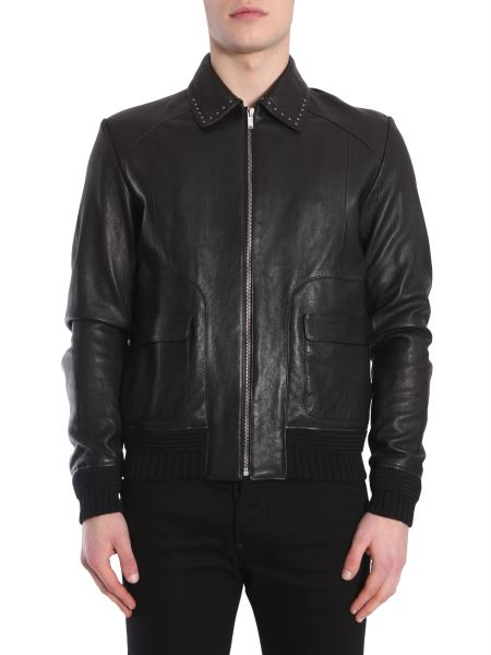 Saint Laurent - Leather Jacket With Rounded Pockets And Studded Collar