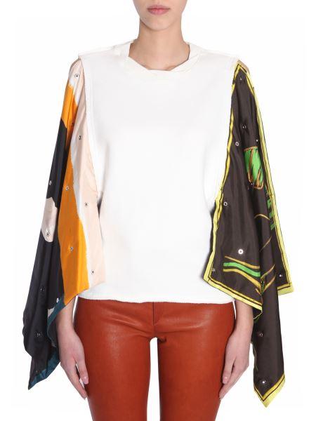 Jw Anderson - Cotton Sweatshirt With Satin Palm Lady Printed Flag