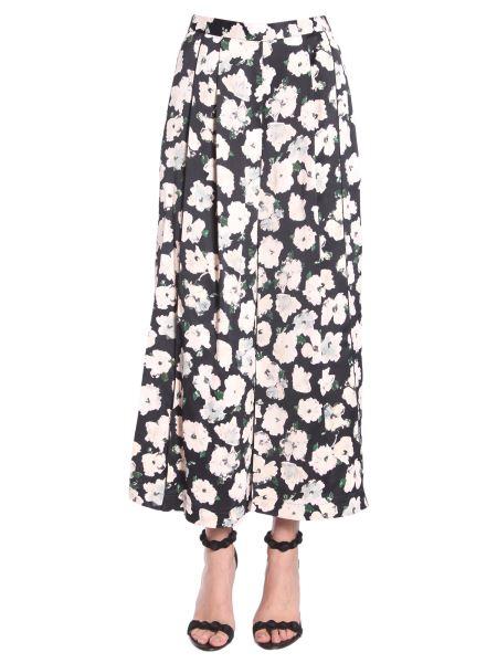 Proenza Schouler - Flower Printed Wide Leg Trousers In Matte Satin