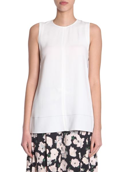 Proenza Schouler - Flare Crêpe Top With Contrast Trim