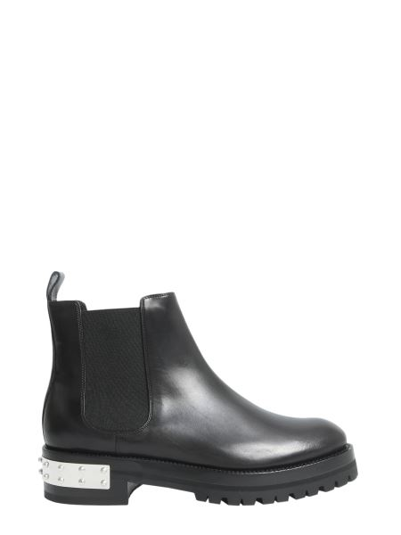 Alexander Mcqueen - Mod Boots In Smooth Leather