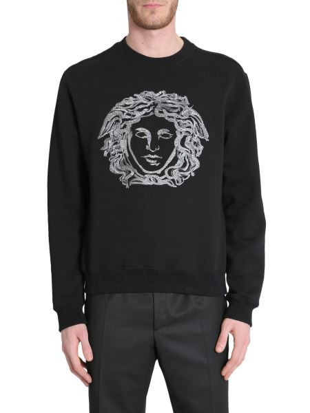 Versace - Round Collar Cotton Sweatshirt With Embroidered Medusa