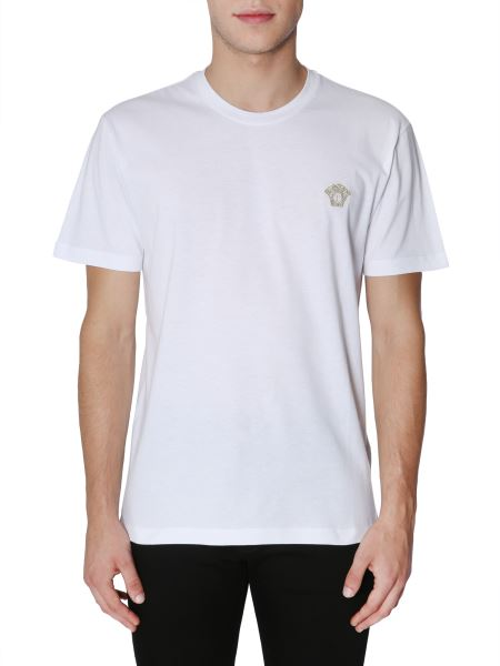 Versace - Round Collar Cotton T-shirt With Embroidered Medusa Head