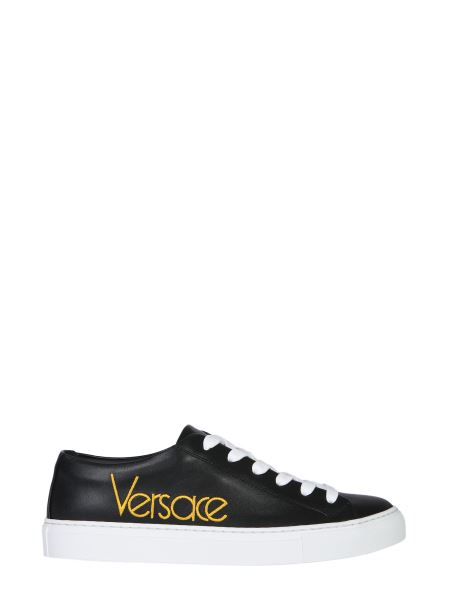 Versace - Leather Sneakers With Embroidered Logo