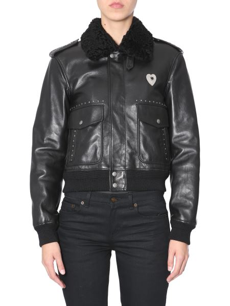 Saint Laurent -  leather Jacket With Shearling Collar