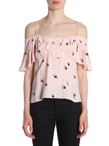 Mcq Alexander Mcqueen - Top In Crêpe Con Stampa Pin Up E Swallow