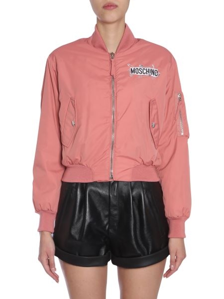 Moschino - Cropped Bomber Jacket With Back Teddy Bear Print And Pins