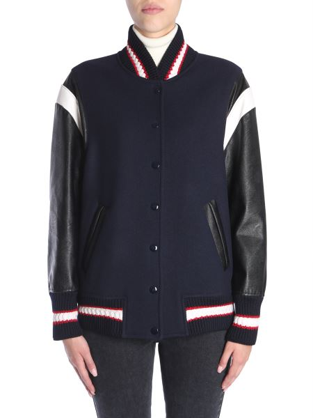 Stella Mccartney - Oversize Fit Wool Bomber Jacket With Eco Leather Sleeves
