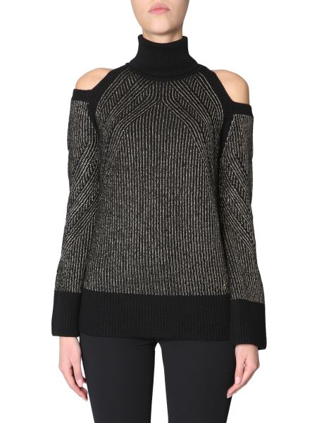 Versace Collection - Turtleneck Sweater With Open Shoulders