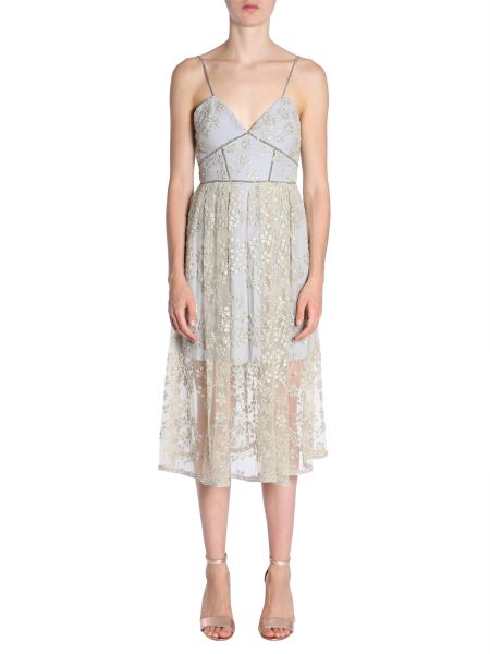 Self-portrait - Floral Embroidered Tulle Midi Dress