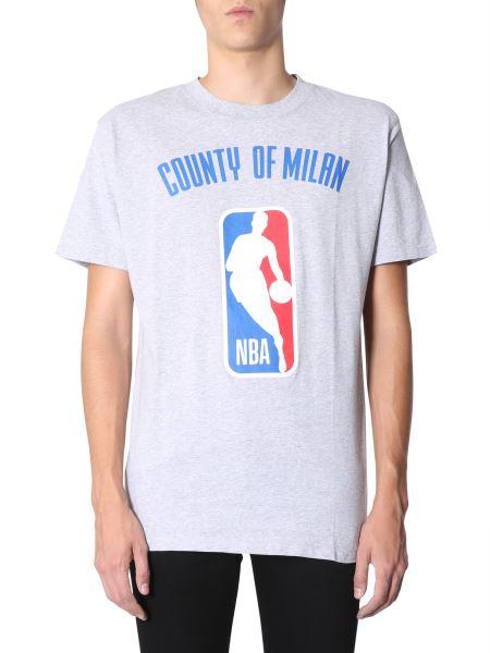 Marcelo Burlon County Of Milan - T-shirt In Jersey Di Cotone Con Stampa In Co-lab Nba