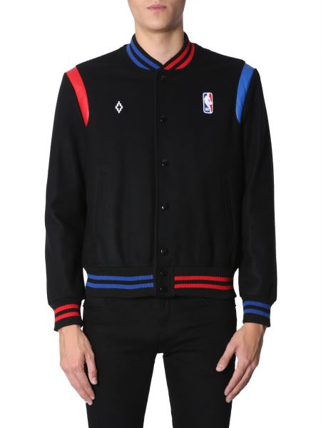 Marcelo Burlon County Of Milan - Nba Co-lab Wool Blend Bomber With Contrasting Profiles