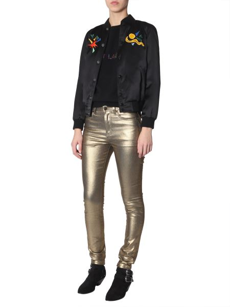 """Saint Laurent - Teddy Satin Jacket With Embroidered """"love 1983"""""""