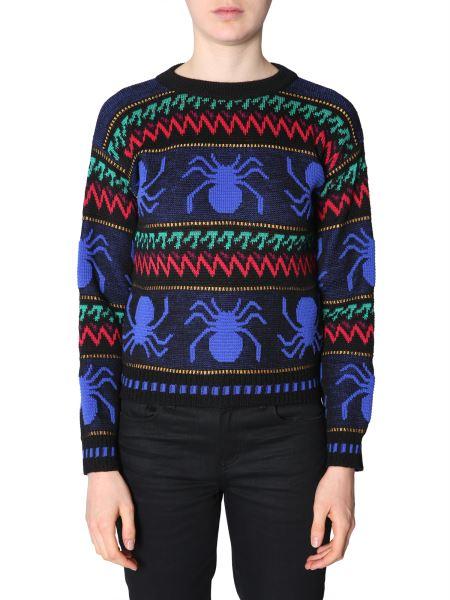 Saint Laurent - Jacquard Wool Crew Neck Sweater