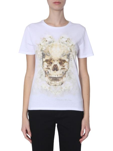 Alexander Mcqueen - T-shirt Girocollo In Cotone Con Stampa Skull Dark Ophelia