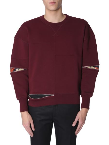 Alexander Mcqueen - Cotton Crew Neck Sweatshirt With Camouflage Insert