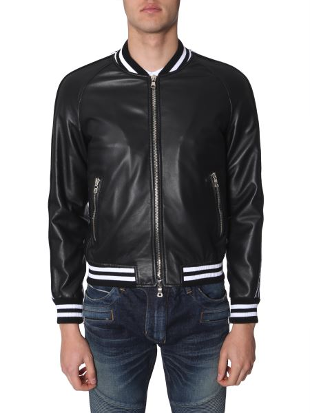 Balmain - Leather Bomber With Logo-printed Bands